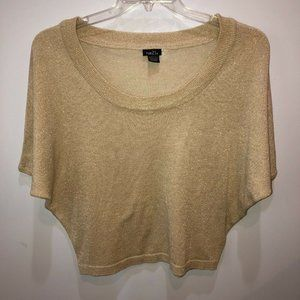 Rue 21 XL Metallic Gold Knit Cropped Sweater Top